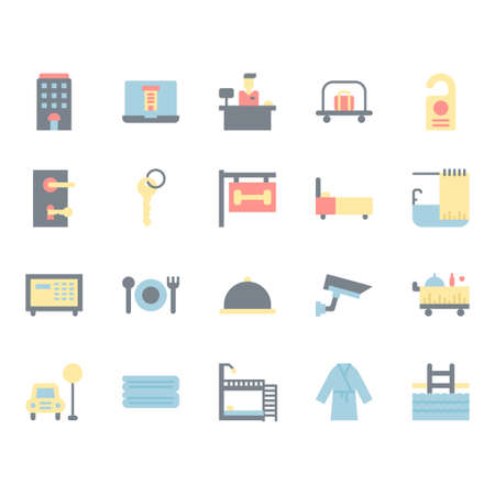 Hotel service icon and symbol set in flat design Stock Vector - 136716969