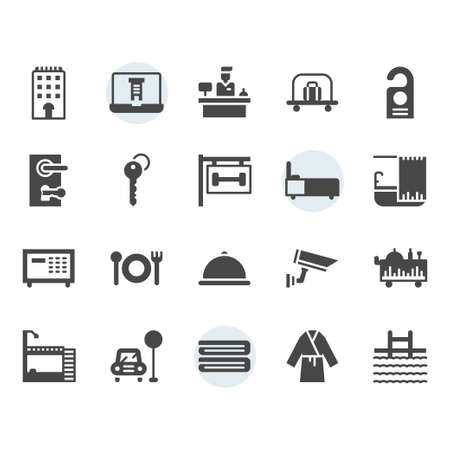 Hotel service icon and symbol set in glyph design Stock Vector - 136716972