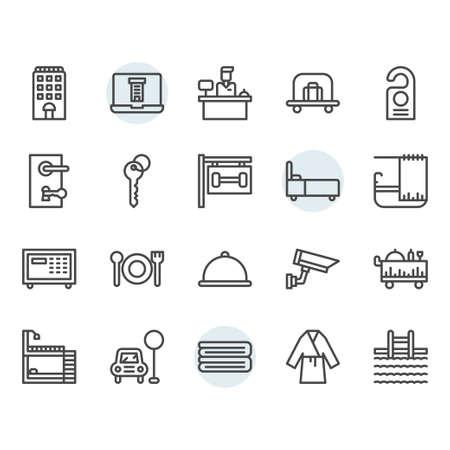 Hotel service icon and symbol set in outline design Illustration