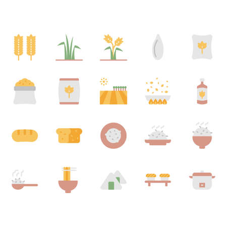 Rice icon and symbol set in flat design Banque d'images - 136716997