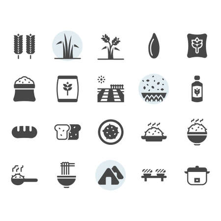 Rice icon and symbol set in glyph design Banque d'images - 136716999
