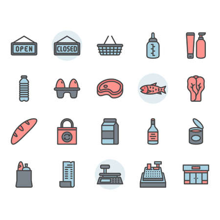 Grocery icon and symbol set