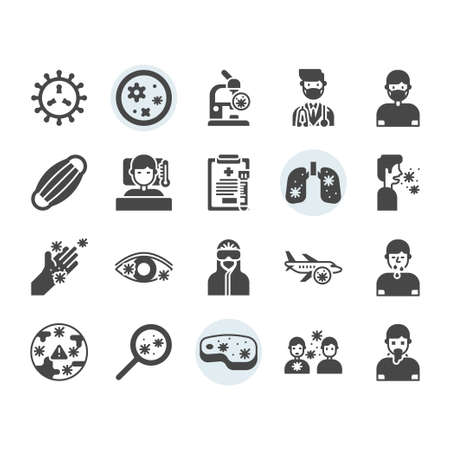 Virus transmission icon and symbol set Vektorové ilustrace