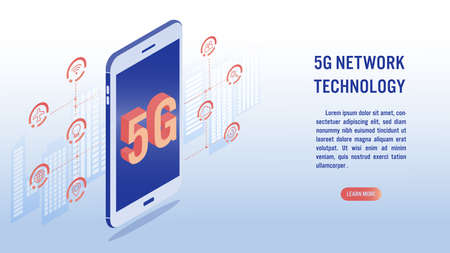 5G network wireless technology, high-speed internet concept. Big letters 5g on screen mobile, building background and related icon. Isometric vector illustration.
