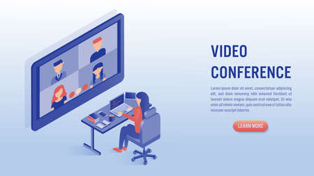 Woman working on laptop with video conference concept. Work from home, online meeting. Illustrations isometric flat vector design. Vettoriali