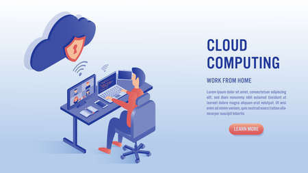 Man working on laptop with video conference concept. Work from home, coding, cloud computing and online meeting. Illustrations isometric flat vector design.