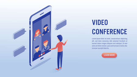 Video conference online meeting concept. Businessman makes video call with his colleague on smartphone. Isometric vector illustration.