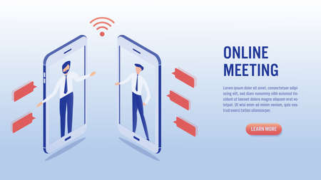 Two man communication using smartphone video call. Online meeting concept. Social distancing. Illustrations isometric flat vector design. Vettoriali