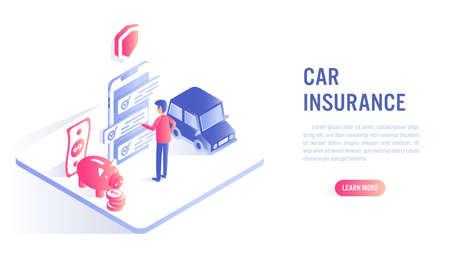 Car insurance online concept. A man choosing insurance plan on mobile app. Isometric flat vector design. Illustration