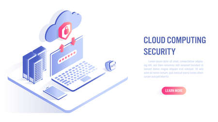 Cloud Computing Security Concept. Data protected exchange on device and online storage. Cloud Technology illustration. Isometric flat vector design.