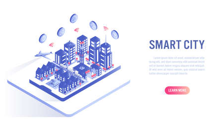 Smart city on mobile isometric flat vector concept. Building automation with computer networking illustration. Internet of thing platform as future technology.