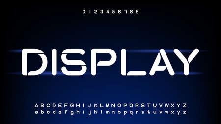 Futuristic and digital technology,curve alphabet fonts Illustration