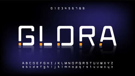 Futuristic and digital technology,modern alphabet fonts Illustration
