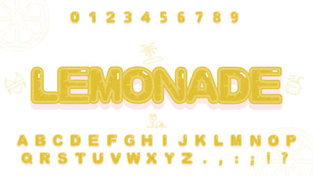 Cute lemonde alphabet in cartoon style for kid Illustration
