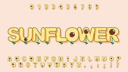 Cute sunflower alphabet in cartoon style for kid