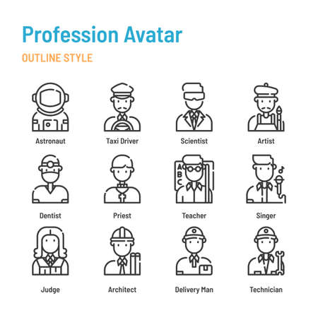 Profession avatar in outline icon and symbol set Illustration