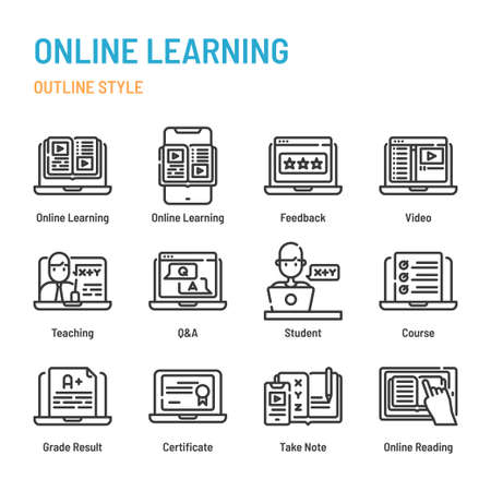 Online learning in outline icon and symbol set