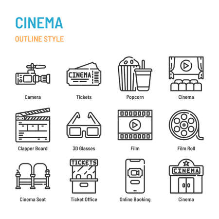 Cinema and movie in outline icon and symbol set