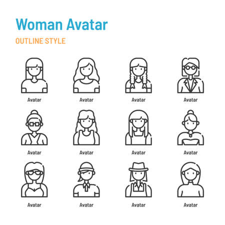 Woman avatar in outline icon and symbol set