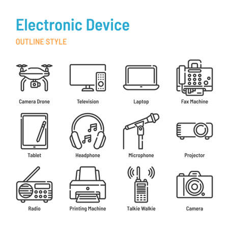 Electronic Device in outline icon and symbol set Illustration