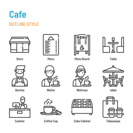 Cafe and Restaurant in outline icon and symbol set Illustration