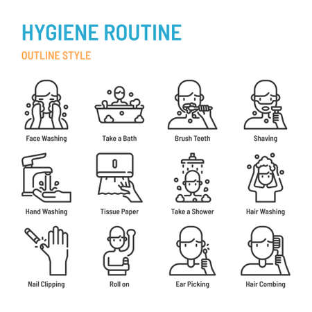 Hygiene Routine in outline icon and symbol set Illustration