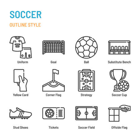 Soccer and football in outline icon and symbol set