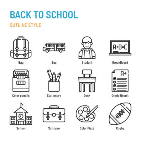 Back to School in outline icon and symbol set Illustration
