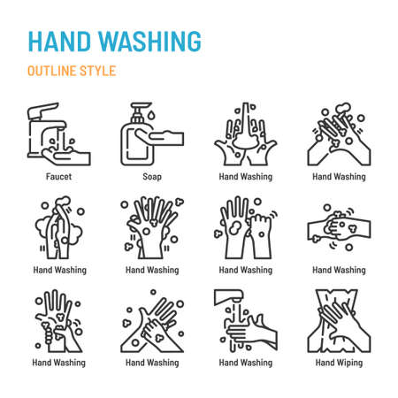 Hand washing in outline icon and symbol set Banque d'images - 153482730
