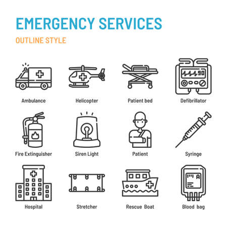 Emergency services in outline icon and symbol set Illustration