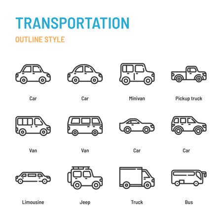 Transportation in outline icon and symbol set