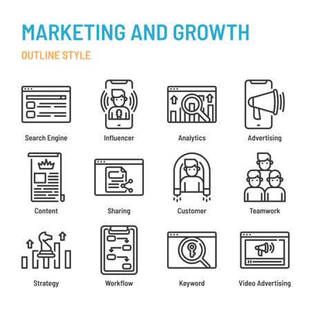 Marketing and Growth in outline icon and symbol set Illustration