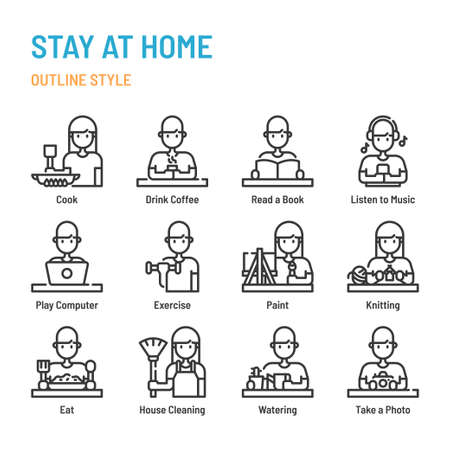 Stay at home in outline icon and symbol set