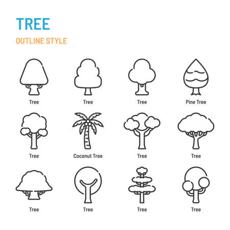 Tree in outline icon and symbol set Illustration