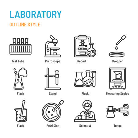 Laboratory in outline icon and symbol set Illustration