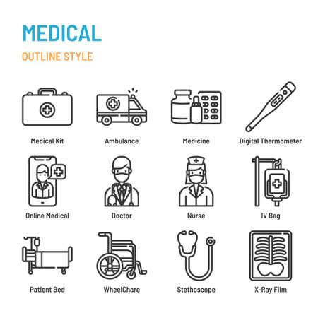Medical and Healthcare in outline icon and symbol set