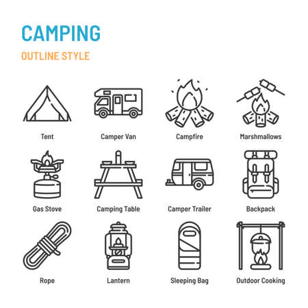 Camping Activities in outline icon and symbol set