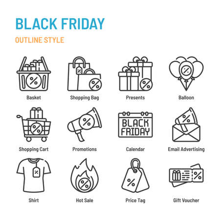 Black Friday in outline icon and symbol set