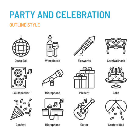 Party and celebration in outline icon and symbol set