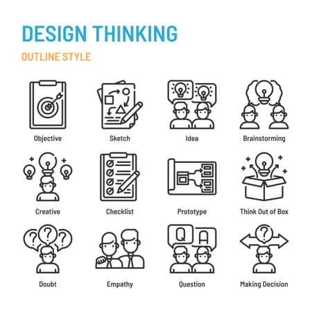 Design Thinking in outline icon and symbol set Illustration