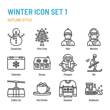 winter in outline icon and symbol set
