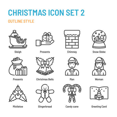 Christmas in outline icon and symbol set Illustration