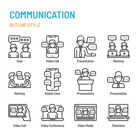 Communication in outline icon and symbol set