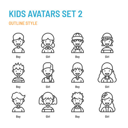 Kids avatars in outline icon and symbol set