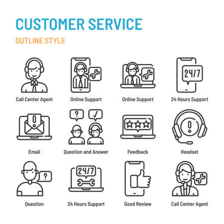 Customer Service in outline icon and symbol set