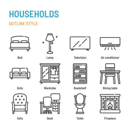 Households and furnitures in outline icon and symbol set