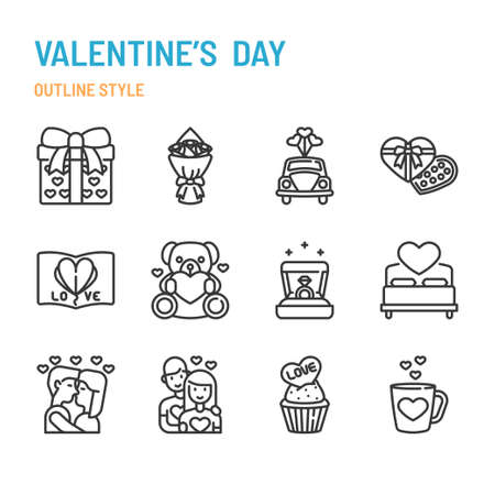 Valentine's Day in outline icon and symbol set Illustration