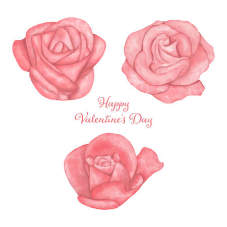 Set of watercolor pink roses for valentine's day