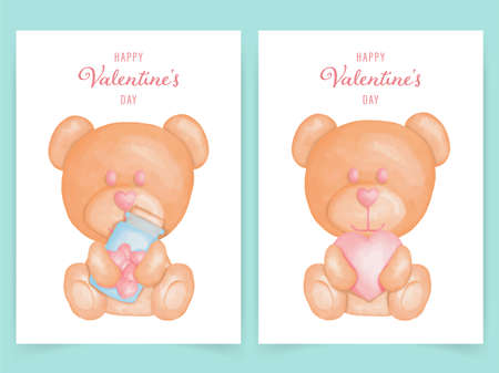 Cute bear for valentines card set watercolor style Banque d'images - 162630055