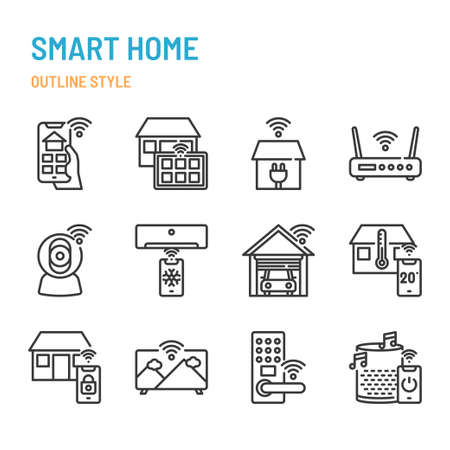 Smart Home related in outline icon and symbol set Illustration